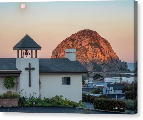 Moonset Above Morro Rock Canvas Print