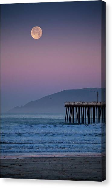 Moonset At Pismo Beach Canvas Print by Mimi Ditchie Photography