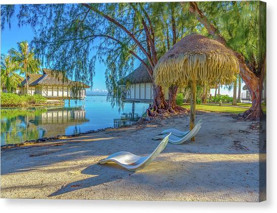 Snorkling Canvas Print - Mo'orea French Polynesia Morning Scene by Scott McGuire