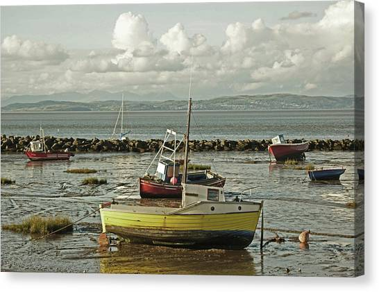 Morecambe. Boats On The Shore. Canvas Print
