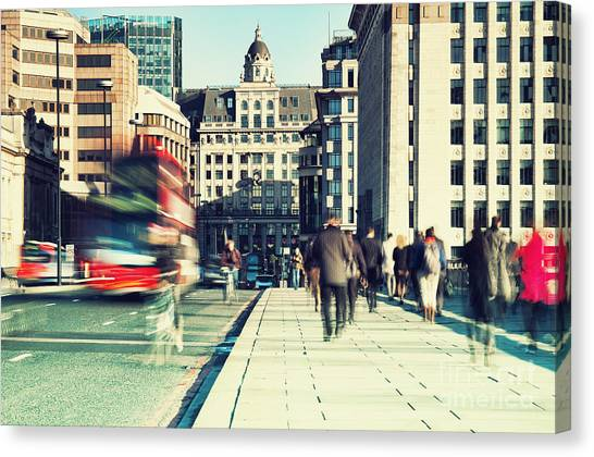 Urban Life Canvas Print - Morning Commuters In London by R.nagy