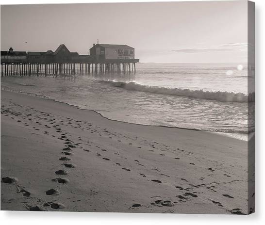 Canvas Print featuring the photograph Morning Walk On Old Orchard Beach by Dan Sproul
