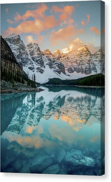 Canvas Print featuring the photograph Morraine Lake Moonset / Alberta, Canada  by Nicholas Parker