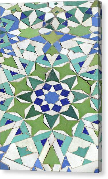 Mosaic Exterior Decorations Of The Hassan II Mosque Canvas Print