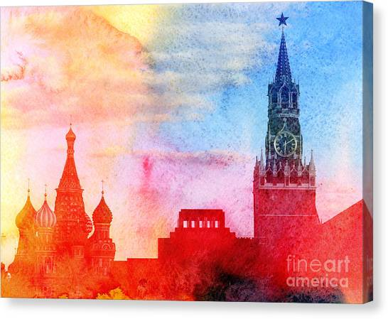 Russian Blue Canvas Print - Moscow Kremlin, Lenin Mausoleum And St by Tanor