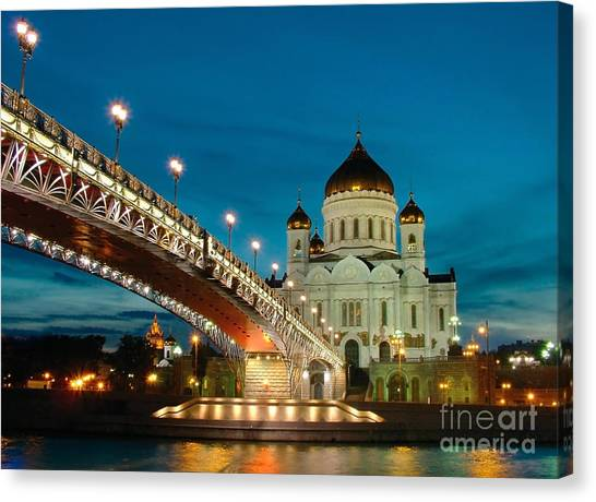 Worship Canvas Print - Moscow. Temple Of Christ Our Saviour by Vorobyeva Anna