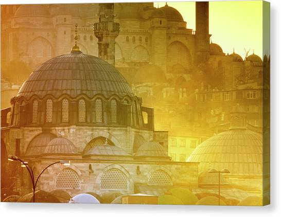 Suleymaniye Canvas Print - Mosque Of Rustem Pasha With Suleymaniye by George Tsafos
