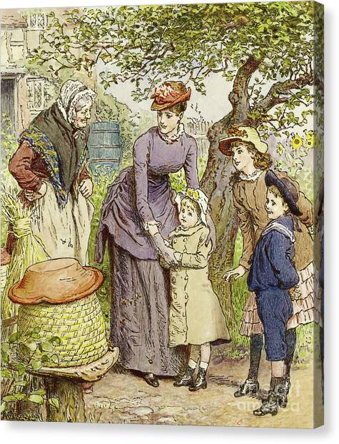 Victorian Garden Canvas Print - Mother And Children By A Beehive by Robert Barnes