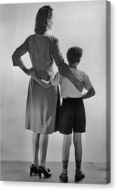 Mother And Son Canvas Print by Fpg