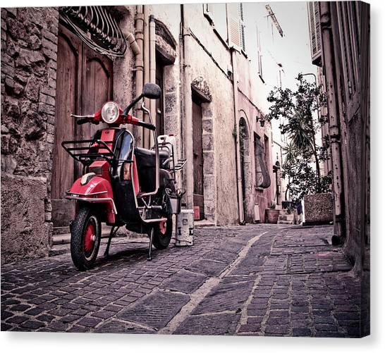 Motor Scooter Parked In Alley Cannes Canvas Print