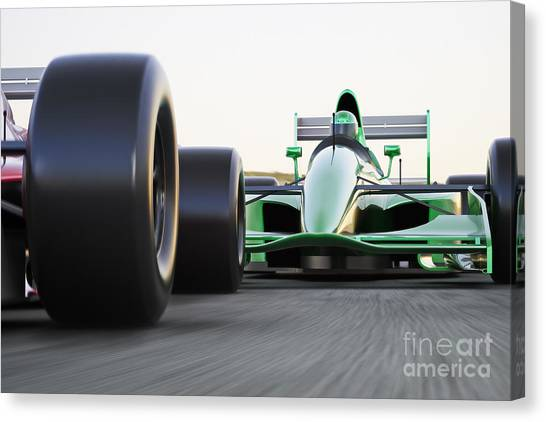Powerful Canvas Print - Motor Sports Race Car Competitive Close by Digital Storm