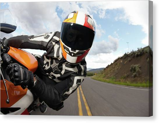 Motorcycle Racer Going Fast Canvas Print