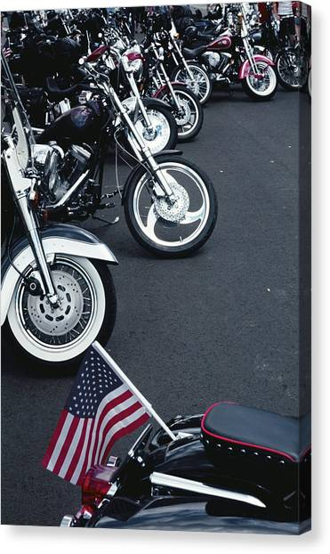 Motorcycles Lined Up In The 4th July Canvas Print