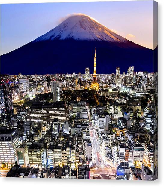 Japanese Gardens Canvas Print - Mount Fuji And Tokyo City In Twilight by 10 Face