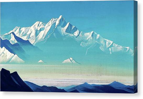Russian Blue Canvas Print - Mount Of Five Treasures - Digital Remastered Edition by Nicholas Roerich