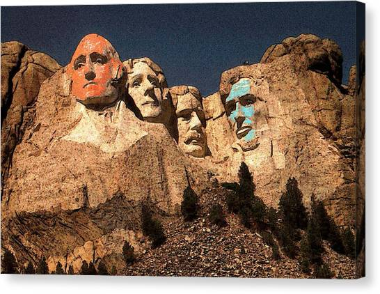 Mount Rushmore Red And Blue Drawing Canvas Print