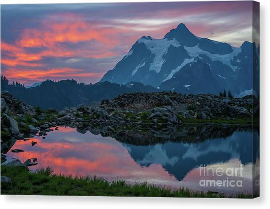 Table Mountain Canvas Print - Mount Shuksan Sunrise Fire by Mike Reid