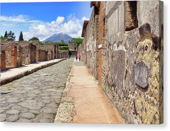 Mount Vesuvius And The Ruins Of Pompeii Italy Canvas Print
