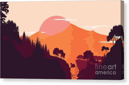 Smokey Canvas Print - Mountain And Forest Landscape In Day by Miomart