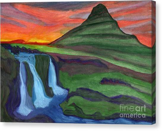 Mountain And Waterfall In The Rays Of The Setting Sun Canvas Print