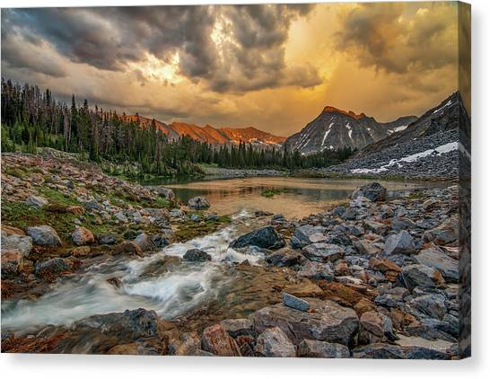 Mountain Glow Canvas Print by Leland D Howard