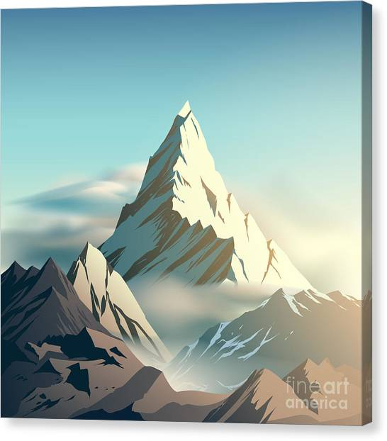 Ice Climbing Canvas Print - Mountain Illustration by D1sk