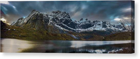 Mountain Lake In Norway On Lofoten Near Nusfjord Canvas Print