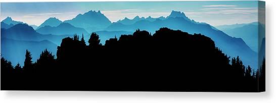 Ice Climbing Canvas Print - Mountain Ridge Silhouette by Pelo Blanco Photo