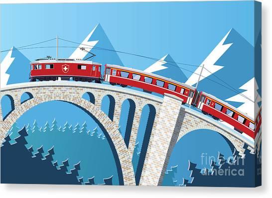 Illustration Canvas Print - Mountain Train On The Bridge Through by Nikola Knezevic