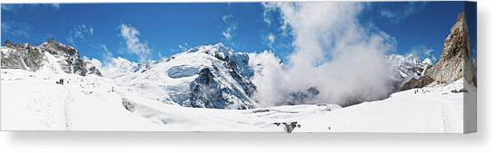 Mountaineers Climbing Snow Glacier Peak Canvas Print by Fotovoyager