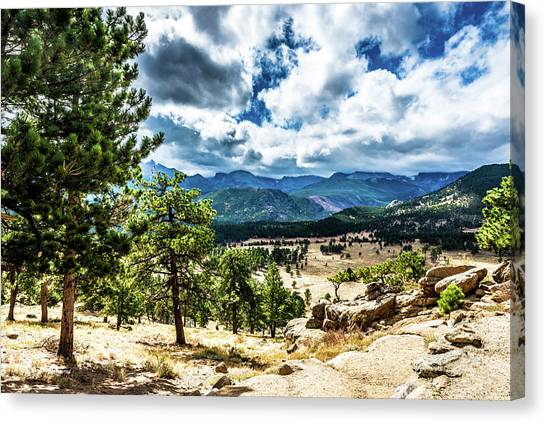 Canvas Print featuring the photograph Mountains Across The Way by James L Bartlett