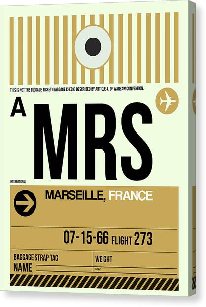 French Canvas Print - Mrs Marseille Luggage Tag I by Naxart Studio