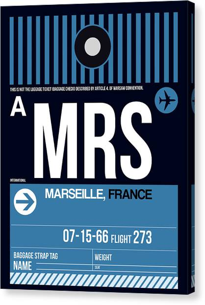 French Canvas Print - Mrs Marseille Luggage Tag II by Naxart Studio