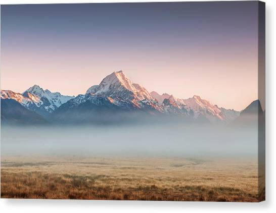 Mt Cook Emerging From Mist At Dawn, New Canvas Print by Matteo Colombo