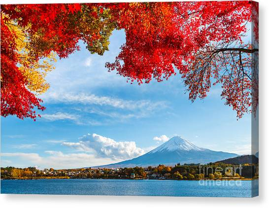 Japanese Gardens Canvas Print - Mt. Fuji In Autumn by Esb Professional