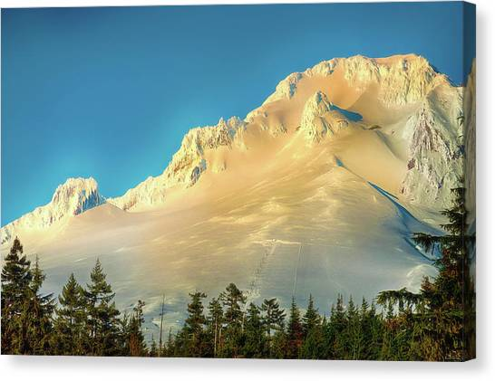 Canvas Print featuring the photograph Mt. Hood In Late Afternoon Sunlight by Dee Browning
