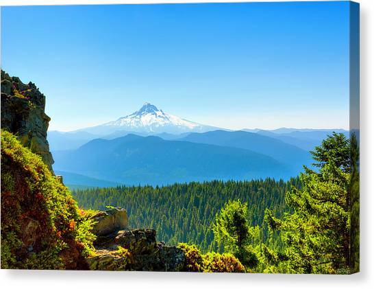 Canvas Print featuring the photograph Mt Hood Seen From Beyond by Dee Browning