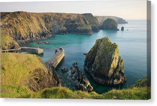 Cliff Burton Canvas Print - Mullion Cove And Harbour From The by Adam Burton / Robertharding