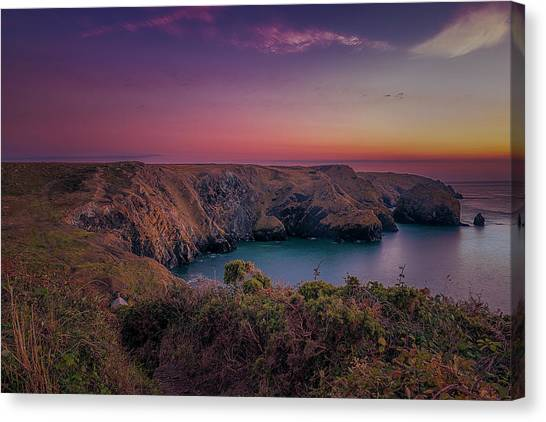 Mullion Cove Cornwall Sunset Canvas Print