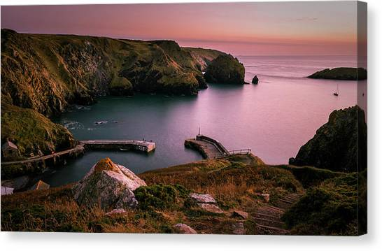 Mullion Cove Sunset - Cornwall General View Canvas Print