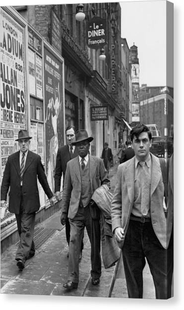 Placard Canvas Print - Multicultural Soho by Bert Hardy