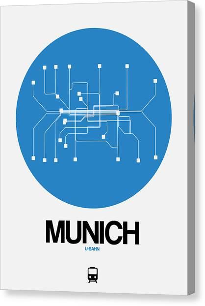 Trip Canvas Print - Munich Blue Subway Map by Naxart Studio