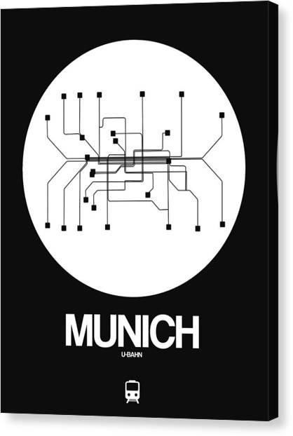 Trip Canvas Print - Munich White Subway Map by Naxart Studio