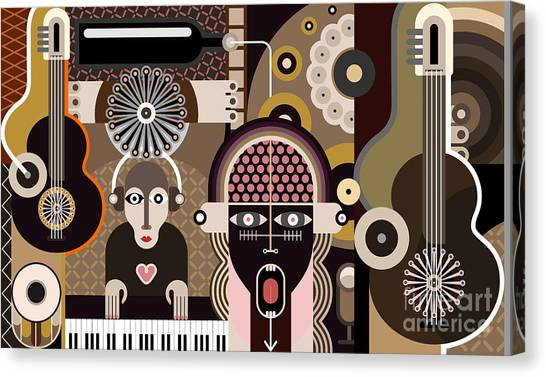 Grey Background Canvas Print - Music Background - Abstract Vector by Danjazzia
