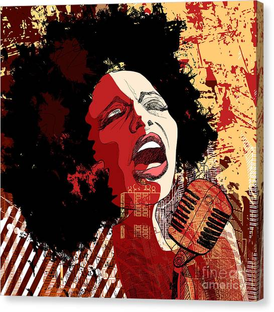 Music Jazz - Afro American Jazz Singer Canvas Print by Isaxar