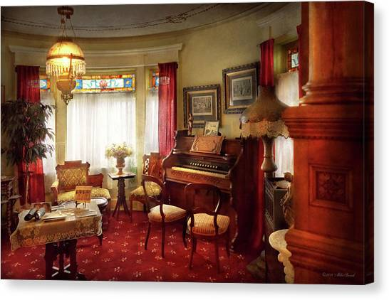 Canvas Print featuring the photograph Music - Organ - In The Parlor by Mike Savad