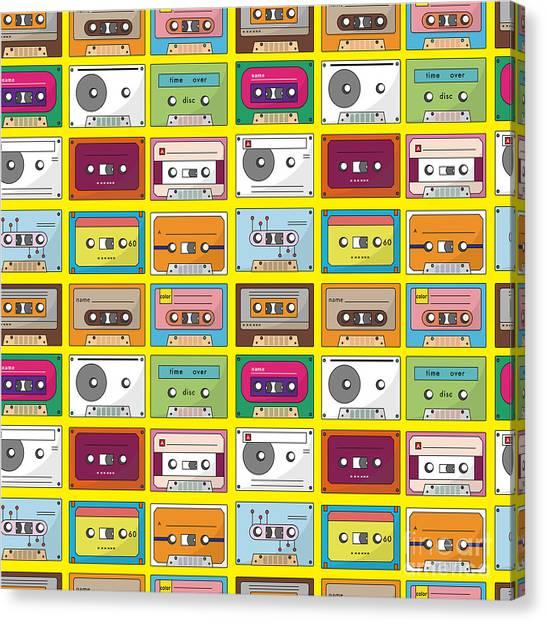 Media Canvas Print - Music Tape Seamless Pattern by Notkoo