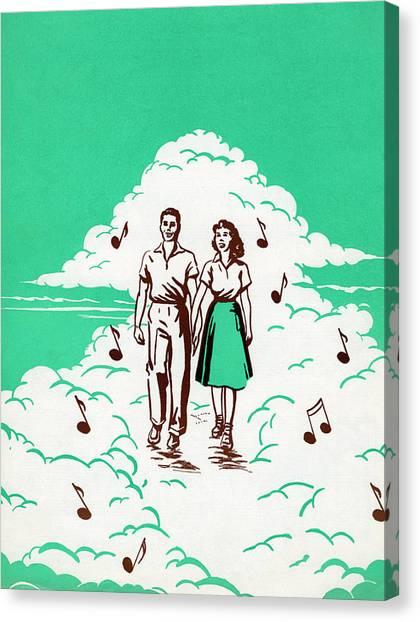 Musical Couple In The Clouds Canvas Print by Graphicaartis
