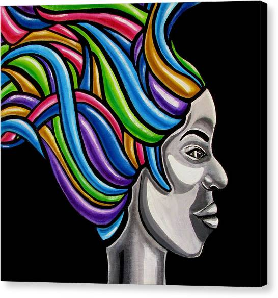 Colorful Abstract Black Woman Face Hair Painting Artwork - African Goddess Canvas Print