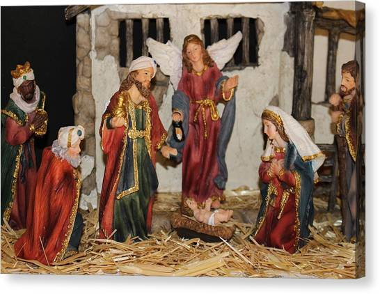 My German Traditions - Christmas Nativity Scene Canvas Print